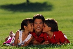 kids kiss father photo