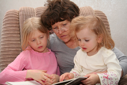 grandmother with girls