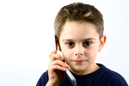 boy calling on mobile cell phone