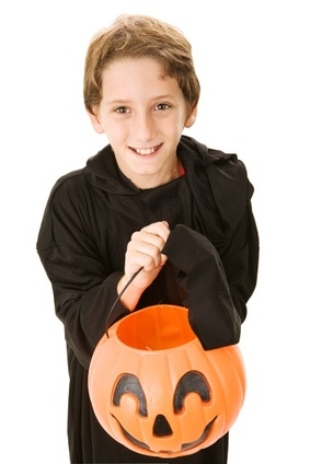 Boy with Halloween Pumpkin