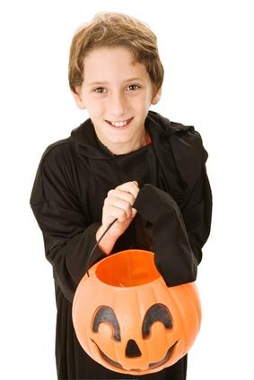 Boy with Halloween Pumpkin